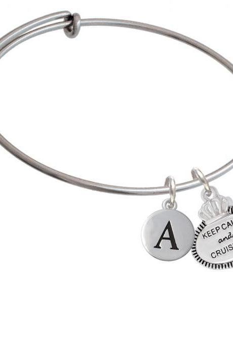 Keep Calm and Cruise On Initial Charm Expandable Bangle Bracelet BR-C5996-PebbleInitial-F2084
