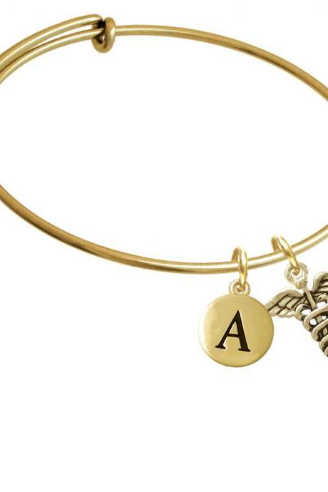 Gold Tone Caduceus Gold Tone Initial Charm Expandable Bangle Bracelet BR-C5823-PebbleInitial-F2084-GP