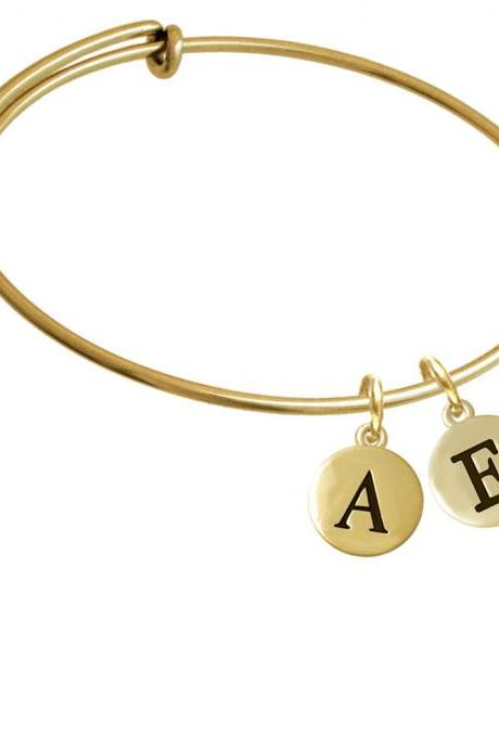 Capital Gold Tone Letter - E - Pebble Disc - Gold Tone Initial Charm Expandable Bangle Bracelet BR-C5156-PebbleInitial-F2084-GP