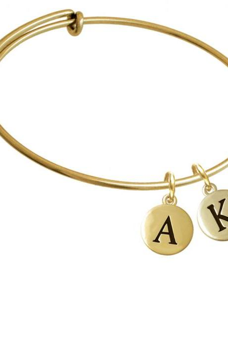 Capital Gold Tone Letter - K - Pebble Disc - Gold Tone Initial Charm Expandable Bangle Bracelet BR-C5162-PebbleInitial-F2084-GP