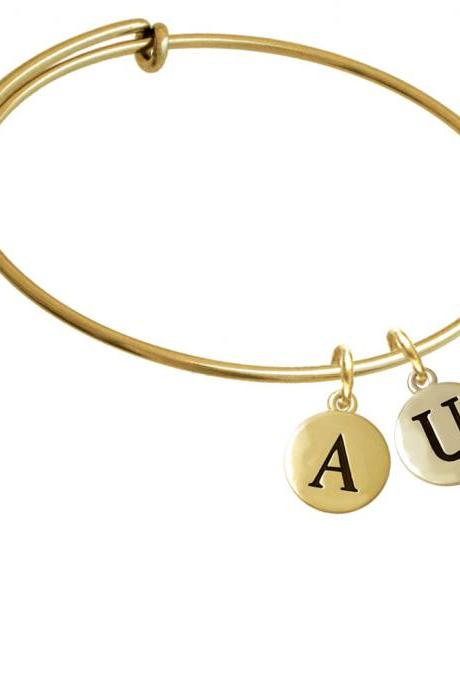Capital Gold Tone Letter - U - Pebble Disc - Gold Tone Initial Charm Expandable Bangle Bracelet BR-C5172-PebbleInitial-F2084-GP