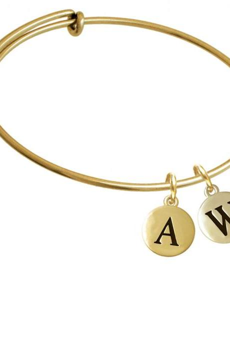 Capital Gold Tone Letter - W - Pebble Disc - Gold Tone Initial Charm Expandable Bangle Bracelet BR-C5174-PebbleInitial-F2084-GP