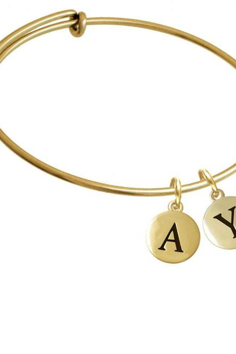 Capital Gold Tone Letter - Y - Pebble Disc - Gold Tone Initial Charm Expandable Bangle Bracelet BR-C5176-PebbleInitial-F2084-GP