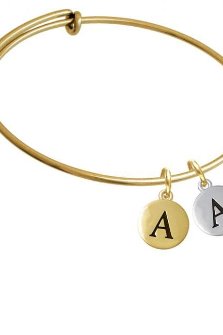 Capital Letter - A - Pebble Disc - Gold Tone Initial Charm Expandable Bangle Bracelet BR-C5125-PebbleInitial-F2084-GP