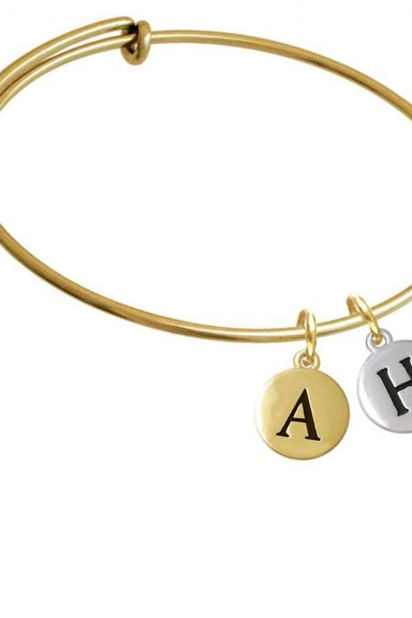 Capital Letter - H - Pebble Disc - Gold Tone Initial Charm Expandable Bangle Bracelet BR-C5132-PebbleInitial-F2084-GP