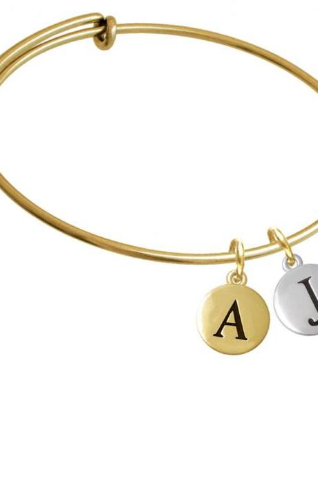Capital Letter - J - Pebble Disc - Gold Tone Initial Charm Expandable Bangle Bracelet BR-C5134-PebbleInitial-F2084-GP