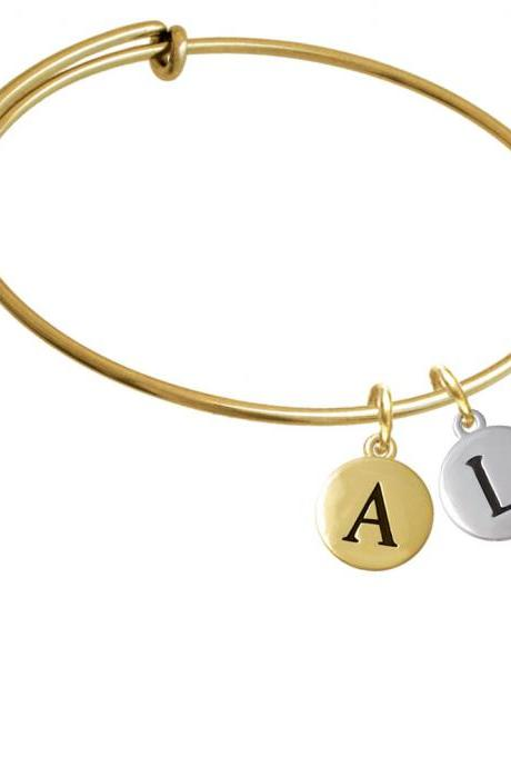 Capital Letter - L - Pebble Disc - Gold Tone Initial Charm Expandable Bangle Bracelet BR-C5136-PebbleInitial-F2084-GP
