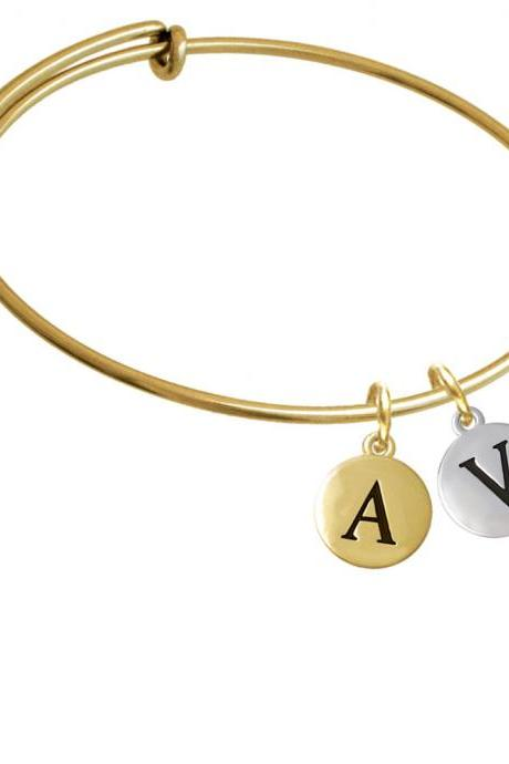 Capital Letter - V - Pebble Disc - Gold Tone Initial Charm Expandable Bangle Bracelet BR-C5146-PebbleInitial-F2084-GP