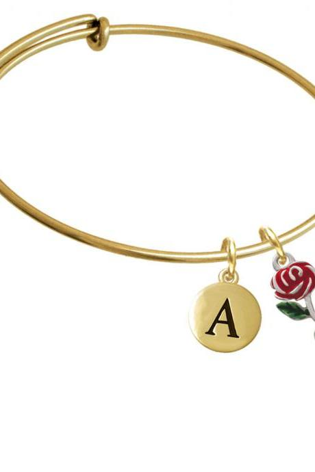 Red Rose Flower Gold Tone Initial Charm Expandable Bangle Bracelet BR-C1294-PebbleInitial-F2084-GP
