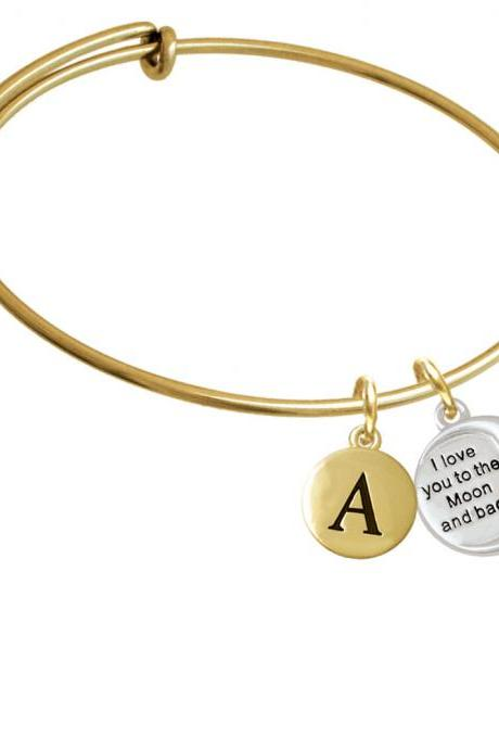 I Love You to the Moon and Back Gold Tone Initial Charm Expandable Bangle Bracelet BR-C5961-PebbleInitial-F2084-GP