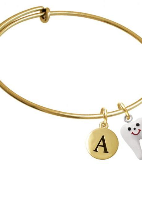 Enamel Tooth Gold Tone Initial Charm Expandable Bangle Bracelet BR-C1420-PebbleInitial-F2084-GP