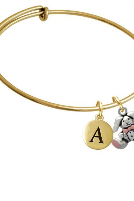 Sitting Bunny with Easter Egg Gold Tone Initial Charm Expandable Bangle Bracelet BR-C1941-PebbleInitial-F2084-GP