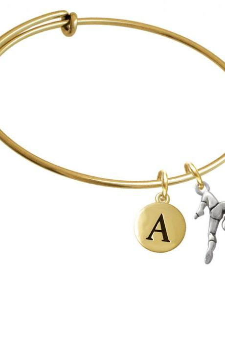 Gymnast Balance Beam Gold Tone Initial Charm Expandable Bangle Bracelet BR-C2093-PebbleInitial-F2084-GP