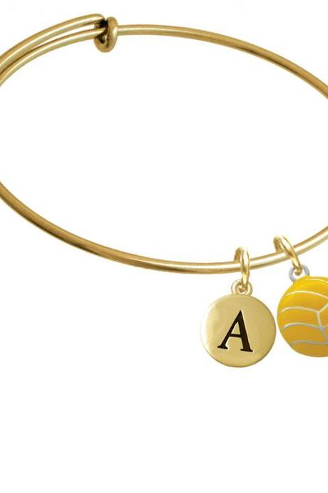 Large Water Polo Ball Gold Tone Initial Charm Expandable Bangle Bracelet BR-C2766-PebbleInitial-F2084-GP
