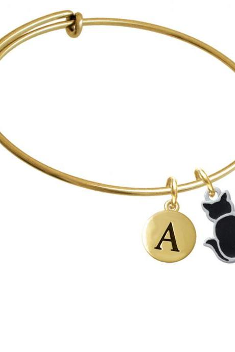 Large 2-D Black Cat Back Gold Tone Initial Charm Expandable Bangle Bracelet BR-C3453-PebbleInitial-F2084-GP