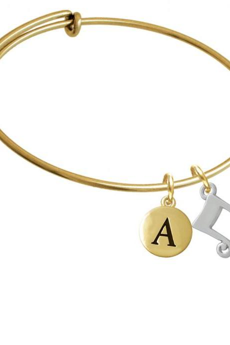 Double Music Note Gold Tone Initial Charm Expandable Bangle Bracelet BR-C3464-PebbleInitial-F2084-GP