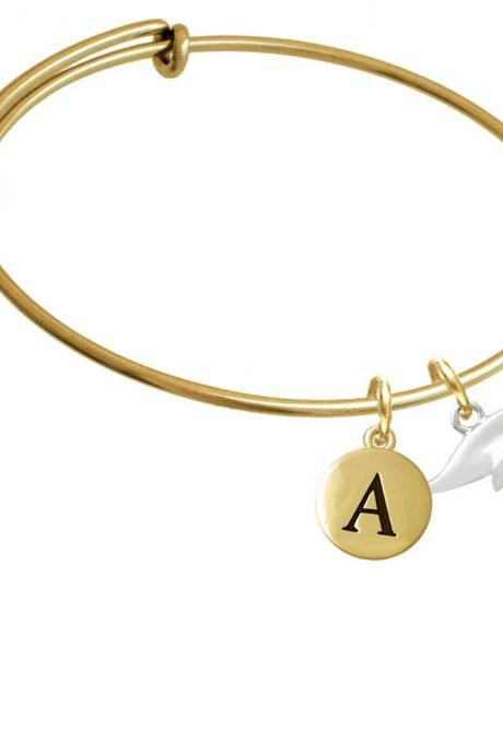 Whale Gold Tone Initial Charm Expandable Bangle Bracelet BR-C3520-PebbleInitial-F2084-GP