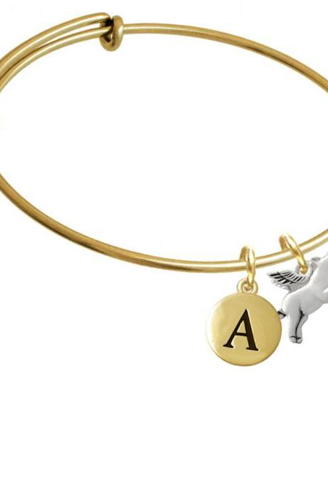 Flying Pig Gold Tone Initial Charm Expandable Bangle Bracelet BR-C3528-PebbleInitial-F2084-GP