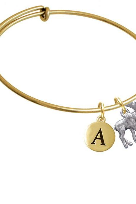 Moose Gold Tone Initial Charm Expandable Bangle Bracelet BR-C3529-PebbleInitial-F2084-GP