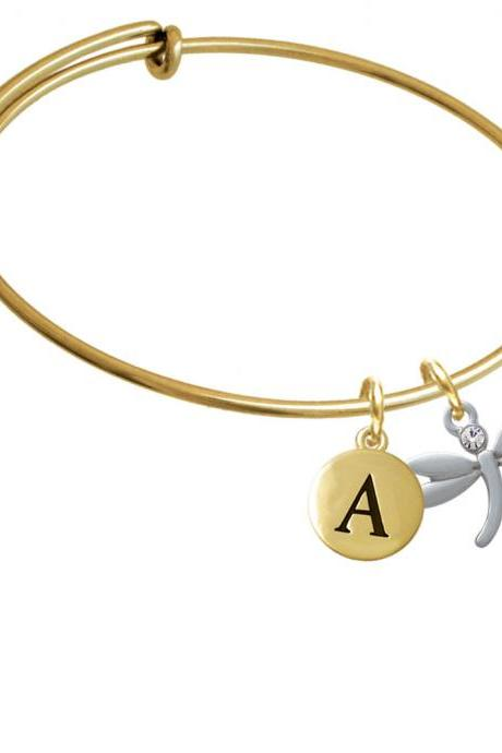 Small Dragonfly with Crystal Gold Tone Initial Charm Expandable Bangle Bracelet BR-C3740-PebbleInitial-F2084-GP