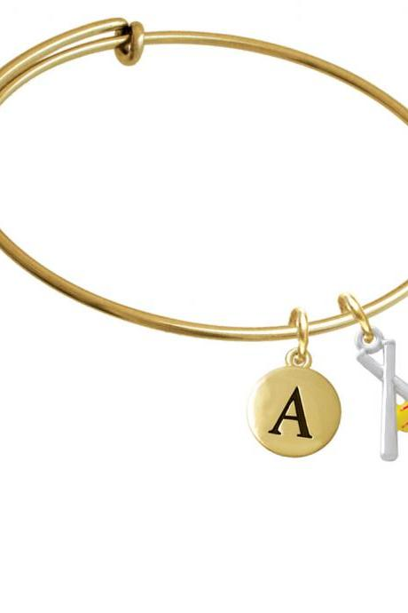 Pair of Crossed Bats with Enamel Softball Gold Tone Initial Charm Expandable Bangle Bracelet BR-C4157-PebbleInitial-F2084-GP