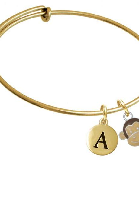 Enamel Monkey Face Gold Tone Initial Charm Expandable Bangle Bracelet BR-C4616-PebbleInitial-F2084-GP