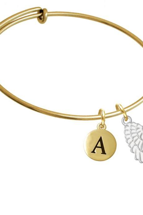 Medium White Enamel Angel Wing Gold Tone Initial Charm Expandable Bangle Bracelet BR-C4810-PebbleInitial-F2084-GP