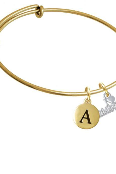I 'Heart' Gymnastics Gold Tone Initial Charm Expandable Bangle Bracelet BR-C5184-PebbleInitial-F2084-GP