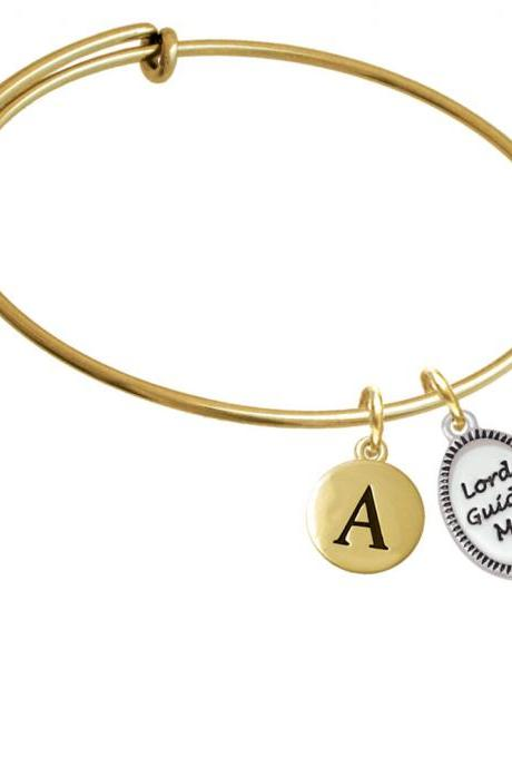 Lord Guide Me Gold Tone Initial Charm Expandable Bangle Bracelet BR-C5963-PebbleInitial-F2084-GP