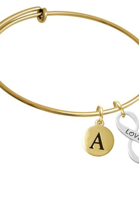 Love Infinity Sign Gold Tone Initial Charm Expandable Bangle Bracelet BR-C6049-PebbleInitial-F2084-GP
