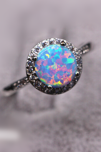 [free shipping US]Vintage Man Made Blue and Pink Opal Fashion Ring as Birthday Gift for Friend-Sister-Mom
