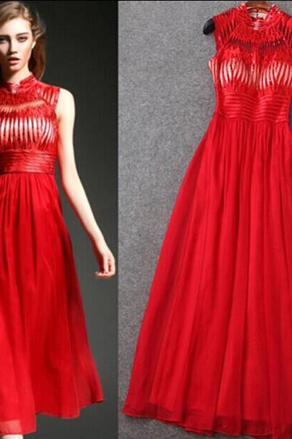 Heavy Embroidery Sequins Red Long Gown Dress