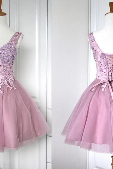 New Arrival Appliques Homecoming Dresses,V-Neck Graduation Dresses,Homecoming Dress,Short/Mini Homecoming Dress