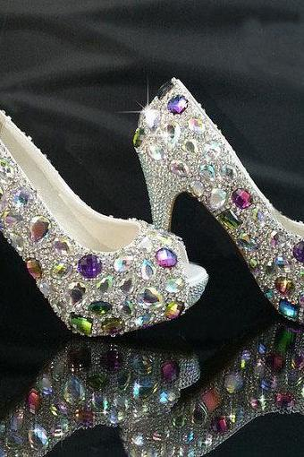 Bridal bling high heel crystal rhinestone shoes Women Evening Prom Party club Bar shoes Wedding Bridesmaid shoes
