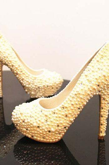Nice Handmade Wedding Bridal Shoes Pearl Rhinestone wedding Bridal shoes bridesmaid shoes