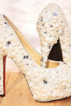 Gorgeous Unique Sparkling Ivory Crystal Flower Wedding Bridal Shoes Wedding Shoes, Bridal
