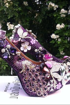 Purple Peacock Rhinestone Crystal Flowers Wedding Shoes, Bridal Shoes, Bridal