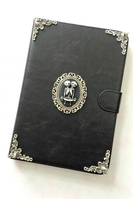 Twin skull leather iPad case, Leather iPad mini 1, 2, 3 case, Leather iPad air case, Leather iPad air 2 case, iPad stand case, iPad Smart cover case, item no.89