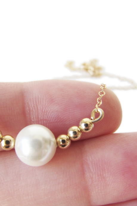 Gold filled pearl necklace - gold beaded necklace - Madeline