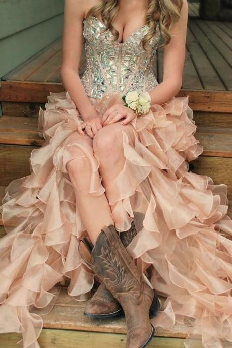 A Line Sweetheart Rhinestones Pink High Low Evening Prom Dress Crystal tiered layers Champagne Prom Gown Formal Women Dresses