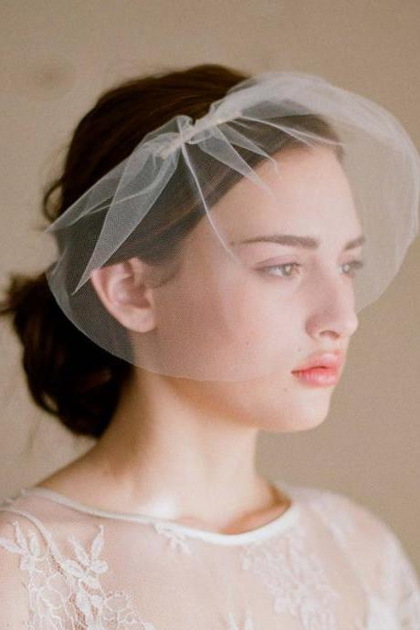 Wedding Bridal Ivory White Net Netting Birdcage Hair Accessories Veil Tiara A4