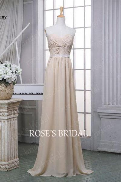 Long Bridesmaid Dresses, Cheap Bridesmaid Dress, Champagne Bridesmaid Dress, Chiffon Bridesmaid Dresses, Elegant Wedding Party Dresses, Custom Bridesmaid Dress, Bridesmaid Dresses 2015
