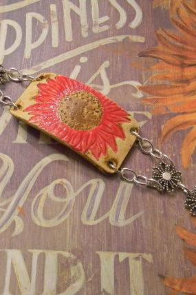 Sunflower Pottery Ceramic Bracelet - FREE SHIPPING