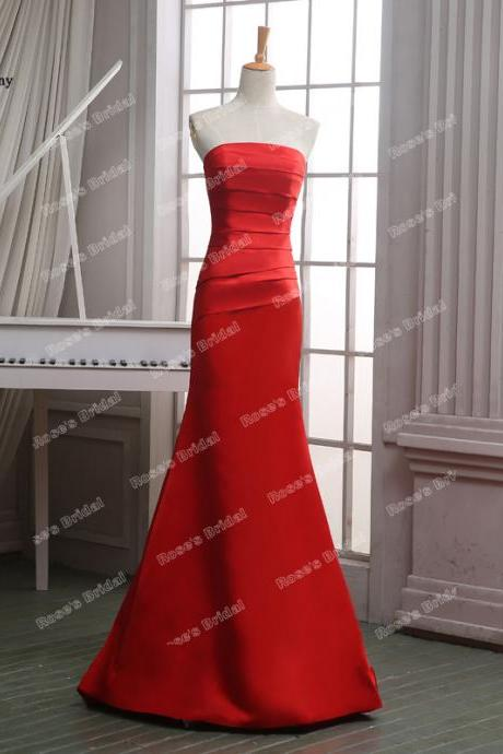 Custom Made Red Satin Strapless Pleats Mermaid Evening Dresses, Cheap Floor Length Prom Dresses
