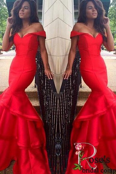 Red Mermaid Satin Off the Shoulder Sweetheart Evening Dress, Floor Length Tiers Prom Dresses