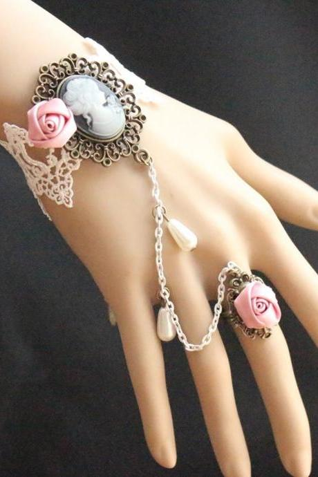Woman Vintage Retro Gothic Lolita elegant Black lace Pink Rose Beads dance bracelet ring A11