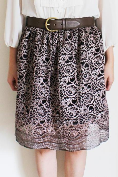 Lace Shimmer Pink Purple Skirt with Lining S, M