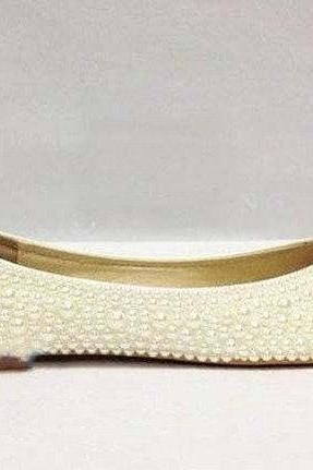 Ivory pearl wedding shoes bridal ivory flats closed toe flat bridal shoes pearl beaded flats wedding shoes