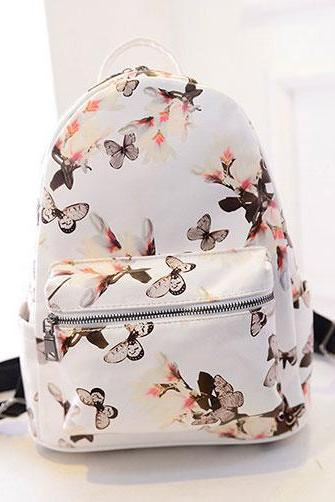 Flower Printing College Student Backpacks