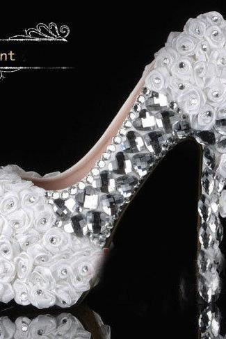 New Arrival White Lace Wedding Dress Shoes High-heeled Bridal Shoes with Pearls rhinestone Shiny 14cm heel Party Prom Shoes